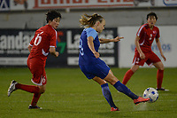 20190304 - LARNACA , CYPRUS : Korean Ju Hyo Sim (left and Finnish midfielder Olga Ahtinen pictured during a women's soccer game between Finland and Korea DPR , on Monday 4 March 2019 at the Antonis Papadopoulos Stadium in Larnaca , Cyprus . This is the third game in group A for Both teams during the Cyprus Womens Cup 2019 , a prestigious women soccer tournament as a preparation on the Uefa Women's Euro 2021 qualification duels. PHOTO SPORTPIX.BE | STIJN AUDOOREN