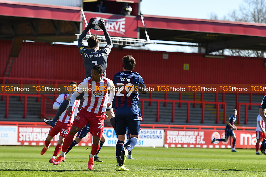 Jamie Cumming of Stevenage FC jumps and catches a cross during Stevenage vs Bradford City, Sky Bet EFL League 2 Football at the Lamex Stadium on 5th April 2021