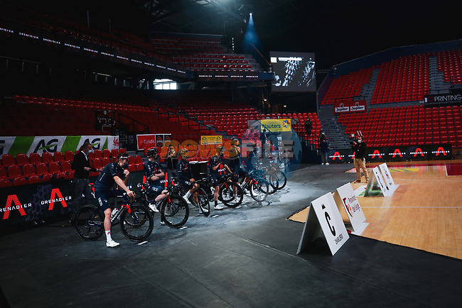 Ineos Grenadiers at the team presentation before the 2021 Flèche-Wallonne, running 193.6km from Charleroi to Huy, Belgium. 21st April 2021.  <br /> Picture: A.S.O./Aurélien Vialatte | Cyclefile<br /> <br /> All photos usage must carry mandatory copyright credit (© Cyclefile | A.S.O./Aurélien Vialatte)
