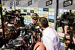 Dylan Groenewegen (NED) Team Jumbo-Visma talks to media at sign on before Stage 10 of the 2019 Tour de France running 217.5km from Saint-Flour to Albi, France. 15th July 2019.<br /> Picture: ASO/Pauline Ballet | Cyclefile<br /> All photos usage must carry mandatory copyright credit (© Cyclefile | ASO/Pauline Ballet)