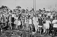 Cape Kennedy, FL. July 16th, 1969.<br /> Crowd photographing and watching the Launch of Apollo XI at Kennedy Space Center. Apollo XI was the spaceflight that landed the first humans on the Moon; Two American astronauts, Neil Armstrong and Buzz Aldrin. The take-off happened at 9:32 am on July 16th, 1969 under a torrid sun.