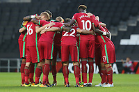 Swansea players huddle prior to the Carabao Cup Second Round match between MK Dons and Swansea City at StadiumMK, Milton Keynes, England, UK. 22 August 2017