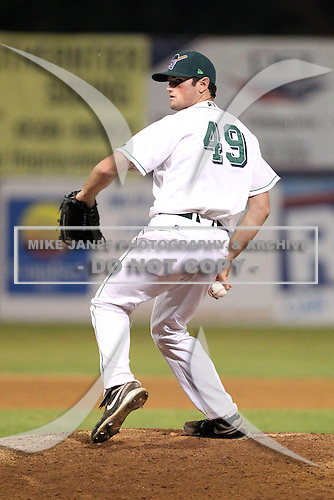 Jamestown Jammers pitcher Holden Sprague (49) during a game vs. the Batavia Muckdogs at Dwyer Stadium in Batavia, New York;  September 2nd, 2010.   Jamestown defeated Batavia 5-4.  Photo By Mike Janes/Four Seam Images