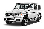 2018 Mercedes Benz G-Class AMG-G63 5 Door SUV Angular Front stock photos of front three quarter view