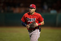 Orem Owlz left fielder Francisco Del Valle (23) jogs onto the field between innings of a Pioneer League game against the Helena Brewers at Kindrick Legion Field on August 21, 2018 in Helena, Montana. The Orem Owlz defeated the Helena Brewers by a score of 6-0. (Zachary Lucy/Four Seam Images)