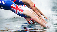 10 SEP 2011 - BEIJING, CHN - Alistair Brownlee (GBR) dives into the water at the start of the 2011 Elite Mens ITU World Championship Series Grand Final Triathlon which he won in a time of 1:48:06 which also gave him the World Championship Series title .(PHOTO (C) NIGEL FARROW)