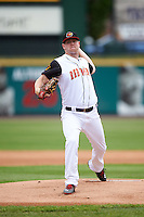 Rochester Red Wings starting pitcher Logan Darnell (15) delivers a warmup pitch during a game against the Toledo Mudhens on June 12, 2016 at Frontier Field in Rochester, New York.  Rochester defeated Toledo 9-7.  (Mike Janes/Four Seam Images)
