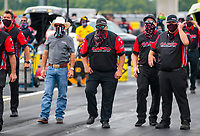 Jul 19, 2020; Clermont, Indiana, USA; NHRA top fuel driver Steve Torrence and crew during the Summernationals at Lucas Oil Raceway. Mandatory Credit: Mark J. Rebilas-USA TODAY Sports