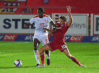 Blackpool's Beryly Lubala battles with Accrington Stanley's Joe Pritchard<br /> <br /> Photographer Dave Howarth/CameraSport<br /> <br /> EFL Trophy Northern Section Group G - Accrington Stanley v Blackpool - Tuesday 6th October 2020 - Crown Ground - Accrington<br />  <br /> World Copyright © 2020 CameraSport. All rights reserved. 43 Linden Ave. Countesthorpe. Leicester. England. LE8 5PG - Tel: +44 (0) 116 277 4147 - admin@camerasport.com - www.camerasport.com
