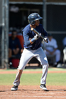 Milwaukee Brewers outfielder Carlos Belonis (27) during an Instructional League game against the Seattle Mariners on October 4, 2014 at Peoria Stadium Training Complex in Peoria, Arizona.  (Mike Janes/Four Seam Images)