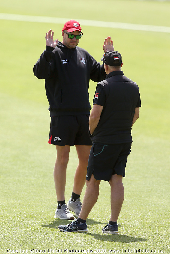 Canterbury coach Peter Fulton (left) with Black Caps coach Gary Stead during Day 1 of Round Two Plunket Shield cricket match between Canterbury and Wellington at Hagley Oval in Christchurch, New Zealand on Wednesday, 28 October 2020. Photo: Martin Hunter / lintottphoto.co.nz