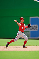 Washington Nationals Cole Freeman (6) throws to first base during a Florida Instructional League game against the Miami Marlins on September 26, 2018 at the Marlins Park in Miami, Florida.  (Mike Janes/Four Seam Images)