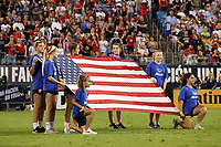 CHARLOTTE, NC - OCTOBER 3: Flag bearers during a game between Korea Republic and USWNT at Bank of America Stadium on October 3, 2019 in Charlotte, North Carolina.