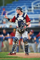 Mahoning Valley Scrappers catcher Logan Ice (11) during the first game of a doubleheader against the Batavia Muckdogs on August 17, 2016 at Dwyer Stadium in Batavia, New York.  Mahoning Valley defeated Batavia 10-3.  (Mike Janes/Four Seam Images)