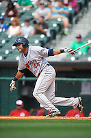 Scranton/Wilkes-Barre RailRiders designated hitter Jonathan Galvez (44) at bat during a game against the Buffalo Bisons on June 10, 2015 at Coca-Cola Field in Buffalo, New York.  Scranton/Wilkes-Barre defeated Buffalo 7-2.  (Mike Janes/Four Seam Images)