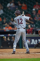 Tanner Poole (12) of the Mississippi State Bulldogs at bat against the Sam Houston State Bearkats during game eight of the 2018 Shriners Hospitals for Children College Classic at Minute Maid Park on March 3, 2018 in Houston, Texas. The Bulldogs defeated the Bearkats 4-1.  (Brian Westerholt/Four Seam Images)
