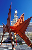 AJ1287, Hartford, Connecticut, Calder, Travelers Tower Building, Stegasaurus, a Calder orange sculpture in front of The Travelers Insurance Tower Building in the capital city of Hartford, Connecticut is one of the tallest structures in New England.