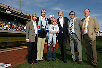 US Soccer Federation President Sunil Gulati, Sky Blue FC invester Philip D. Murphy, Julie Foudy with daughter Isabel, New Jersey Governor Jon Corzine, Sky Blue FC CFO Francesco Prandoni, and President & CEO Thomas Hofstetter pose for a photo before the game.  The Los Angeles Sol defeated Sky Blue FC 2-0 during a Women's Professional Soccer match at TD Bank Ballpark in Bridgewater, NJ, on April 5, 2009. Photo by Howard C. Smith/isiphotos.com