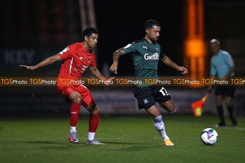 Byron Moore of Plymouth Argyle and Louis Dennis of Leyton Orient during Leyton Orient vs Plymouth Argyle, Caraboa Cup Football at The Breyer Group Stadium on 15th September 2020