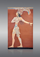 Minoan 'Prince of the Lilies' wall art freco, Knossos Palace, 1600-1450 BCHeraklion Archaeological Museum.  Grey Background. <br /> <br /> An emblematic image of Minoan Crete this fresco was part of a larger composition in high relief. The fresco depicts a life size figure wearing a coloured kilt with a cod piece and a belt. A majestic crown on his head is adorned with papyrus lilies and peacock feathers. Neopalatial Period.