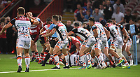 24th September 2021;  Kingsholm Stadium, Gloucester, England; Gallaher Premiership Rugby, Gloucester Rugby versus Leicester Tigers: Gloucester drive for the line in the last play of the match but Leicester Tigers defence holds