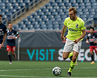 FOXBOROUGH, MA - MAY 12: Daltyn Knutson #13 of Union Omaha brings the ball forward during a game between Union Omaha and New England Revolution II at Gillette Stadium on May 12, 2021 in Foxborough, Massachusetts.