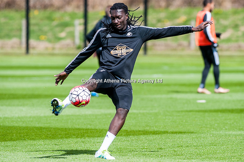 Wednesday  27 April 2016<br /> Pictured: Bafetibi Gomis of Swansea City  in action during training<br /> Re: Swansea City Training Session at the Fairwood Ground, Swansea, Wales, UK