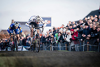 CX World Champion Mathieu van der Poel (NED/Corendon-Circus) attacking the pump track with Zdenek Stybar (CZE/Deceuninck - QuickStep) in tow<br /> <br /> Azencross Loenhout 2019 (BEL)<br />  <br /> ©kramon