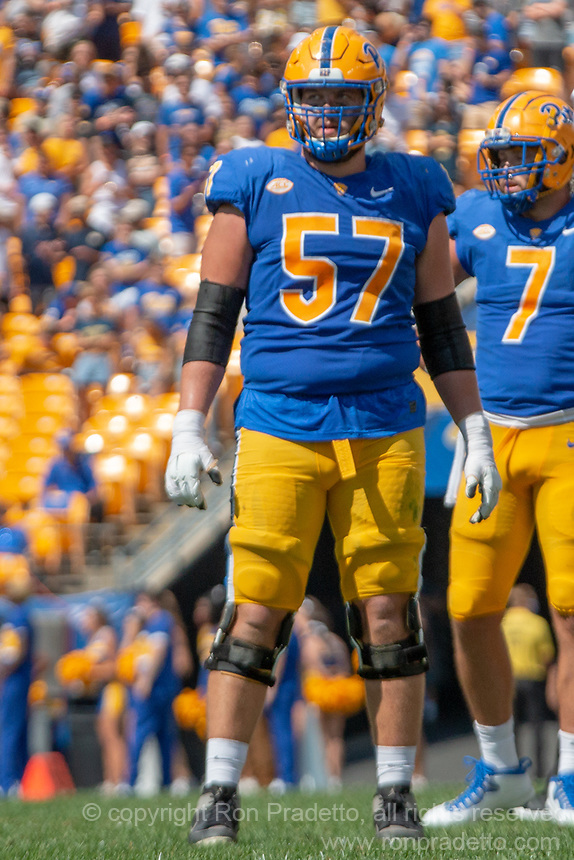 Pitt offensive lineman Gabe Houy (57). The Western Michigan University Broncos defeated the Pitt Panthers 44-41 at Heinz Field, Pittsburgh, Pennsylvania on September 18, 2021.