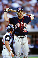 Todd Walker of the Minnesota Twins during a game against the Anaheim Angels at Angel Stadium circa 1999 in Anaheim, California. (Larry Goren/Four Seam Images)