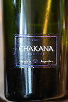 Bottle of Chakana Bodega Winery Bonarda 2003 Mendoza. The Restaurant Red at the Hotel Madero Sofitel in Puerto Madero, Buenos Aires Argentina, South America