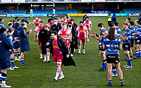 6th February 2021; Recreation Ground, Bath, Somerset, England; English Premiership Rugby, Bath versus Harlequins; Danny Care of Harlequins leads his team off the pitch having beaten Bath