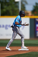 Inland Empire 66ers Jordyn Adams (9) stands on second base after hitting a double during a California League game against the Rancho Cucamonga Quakes at LoanMart Field on September 2, 2019 in Rancho Cucamonga, California. Rancho Cucamonga defeated Inland Empire 4-3. (Zachary Lucy/Four Seam Images)