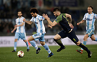 Europa League quarter-final 1st leg <br /> S.S. Lazio - FC Salzburg  Olympic Stadium Rome, April 5, 2018.<br /> Lazio's Felipe Anderson (l) is going to scores contrasted by Salzburg's Duje Caleta-Car (r)during the Europa League match between Lazio and Salzburg at Rome's Olympic stadium, April 5, 2018.<br /> UPDATE IMAGES PRESS/Isabella Bonotto
