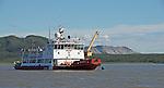 Coast Guard vessel on Mackenzie River, Sans Sault Rapids.