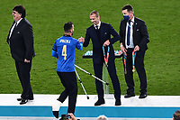 11th July 2021; Wembley Stadium, London, England; 2020 European Football Championships Final England versus Italy;  Leonardo Spinazzola collects his medal from Aleksander Ceferin