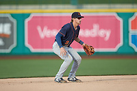 Bowling Green Hot Rods shortstop Ford Proctor (9) on defense against the Fort Wayne TinCaps at Parkview Field on August 20, 2019 in Fort Wayne, Indiana. The Hot Rods defeated the TinCaps 6-5. (Brian Westerholt/Four Seam Images)