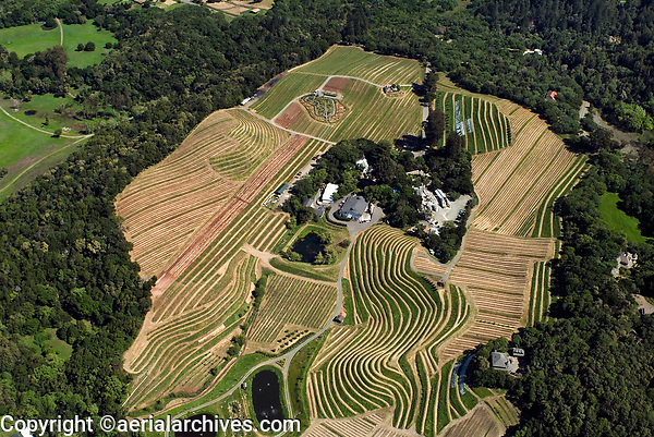 aerial photograph of the Benziger Winery and vineyards , Glenn Ellen , Sonoma county, California