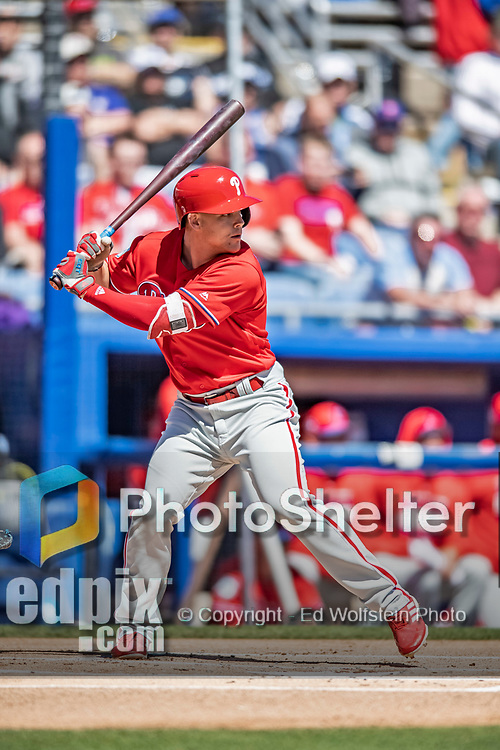 6 March 2019: Philadelphia Phillies infielder Scott Kingery at bat during a Spring Training game against the Toronto Blue Jays at Dunedin Stadium in Dunedin, Florida. The Blue Jays defeated the Phillies 9-7 in Grapefruit League play. Mandatory Credit: Ed Wolfstein Photo *** RAW (NEF) Image File Available ***