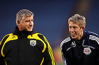 Columbus Crew head coach Sigi Schmid talks with former Crew member and current New York Red Bulls forward John Wolyniec (15) prior to the game. The New York Red Bulls defeated the Columbus Crew 2-0 during a Major League Soccer match at Giants Stadium in East Rutherford, NJ, on April 5, 2008.