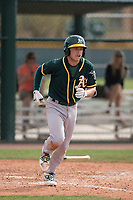 Oakland Athletics shortstop Nick Allen (1) jogs to first base after drawing a walk during a Minor League Spring Training game against the Chicago Cubs at Sloan Park on March 13, 2018 in Mesa, Arizona. (Zachary Lucy/Four Seam Images)