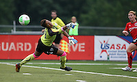 Philadelphia goalkeeper, Karina LeBlanc (23), is unable to stop Atlanta midfielder, Lori Chalupny (12) from scoring to the far corner.  After falling behind, 2-0 in the first half, the Philadelphia Independence bounced back to defeat the Atlanta Beat, 3-2 at John A Farrell Stadium in West Chester, Pennsylvania.
