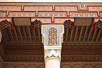 Berber Arabesque plasterwok colums and capitals  of the Marrakesh museum in the Dar Menebhi Palace, Marrakesh, Morocco