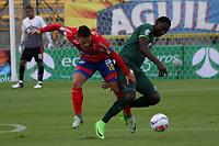 BOGOTA - COLOMBIA - 15 - 07 - 2017: Dairin Gonzalez (Der.) jugador de La Equidad disputa el balón con Javier Reina (Izq.) jugador de Deportivo Pasto, durante partido entre La Equidad y Deportivo Pasto,  por la fecha 2 de la Liga Aguila II-2017, jugado en el estadio Metropolitano de Techo de la ciudad de Bogota. /Dairin Gonzalez  (R) player of La Equidad vies for the ball withJavier Reina(L) player of Deportivo Pasto, during a match between La Equidad and Deportivo Pasto, for the  date 2nd of the Liga Aguila II-2017 at the Metropolitano de Techo Stadium in Bogota city, Photo: VizzorImage  /Felipe Caicedo / Staff.