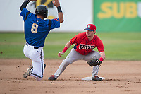 Orem Owlz second baseman Justin Jones (33) covers second base on a stolen base attempt by Nick Dalesandro (8) during a Pioneer League game against the Missoula Osprey at Ogren Park Allegiance Field on August 19, 2018 in Missoula, Montana. The Missoula Osprey defeated the Orem Owlz by a score of 8-0. (Zachary Lucy/Four Seam Images)