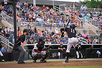 Jameson Fisher (11) of the Kannapolis Intimidators takes his turn at bat as Hickory Crawdads catcher Isaias Quiroz (22) and home plate umpire Mark Bass look on at Kannapolis Intimidators Stadium on April 22, 2017 in Kannapolis, North Carolina.  The Intimidators defeated the Crawdads 10-9 in 12 innings.  (Brian Westerholt/Four Seam Images)
