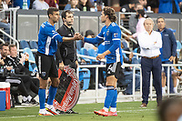 SAN JOSE, CA - AUGUST 17: Chris Wondolowski #8 of the San Jose Earthquakes greets Cade Cowell #44 of the San Jose Earthquakes during a game between San Jose Earthquakes and Minnesota United FC at PayPal Park on August 17, 2021 in San Jose, California.