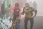 Race leader Primoz Roglic (SLO) Jumbo-Visma crosses the line in 2nd place at the end of Stage 18 of La Vuelta d'Espana 2021, running 162.6km from Salas to Alto del Gamoniteiru, Spain. 2nd September 2021.    <br /> Picture: Luis Angel Gomez/Photogomezsport   Cyclefile<br /> <br /> All photos usage must carry mandatory copyright credit (© Cyclefile   Luis Angel Gomez/Photogomezsport)