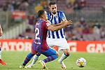FC Barcelona's Sergino Dest (l) and Real Sociedad's Adnan Januzaj during La Liga match. August 15, 2021. (ALTERPHOTOS/Acero)