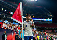 NASHVILLE, TN - SEPTEMBER 5: Christian Pulisic #10 of the United States takes a corner kick during a game between Canada and USMNT at Nissan Stadium on September 5, 2021 in Nashville, Tennessee.